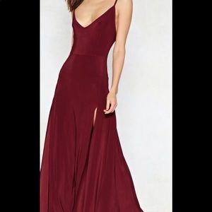 Women's NWT NastyGal Berry colored maxi